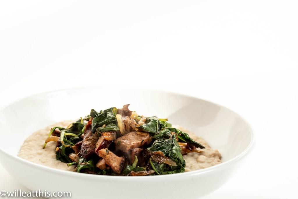 Turkey Kielbasa stir fry in a white bowl