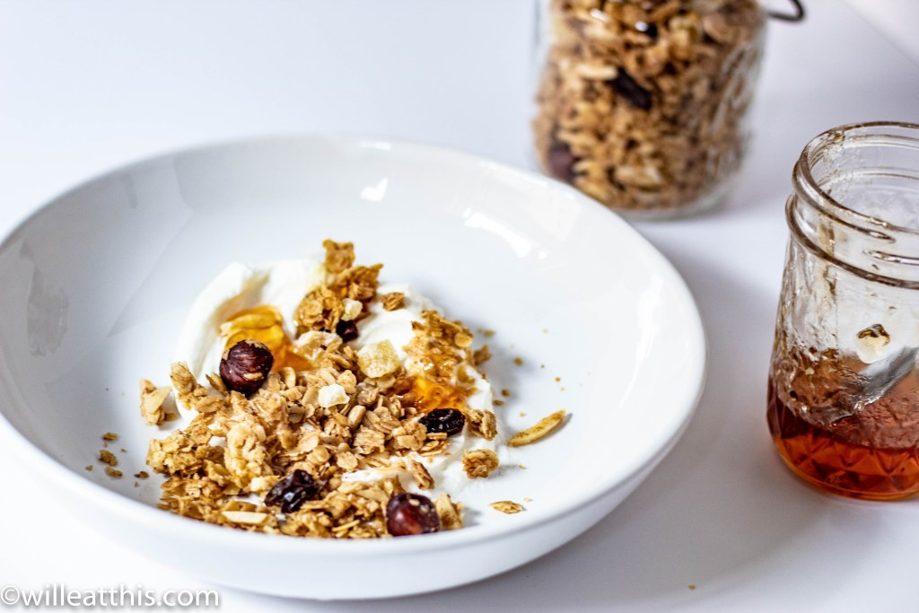 Apple pie granola served with greek yogurt and boiled cider