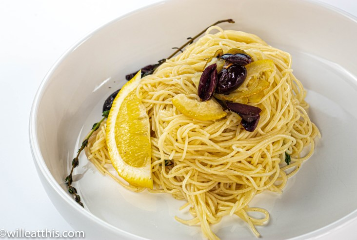 Lemony Spaghetti with thyme in a plate