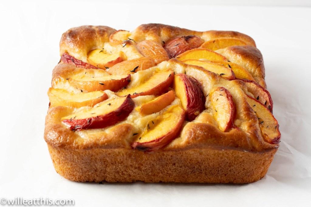 Baked Whole Peach Focaccia