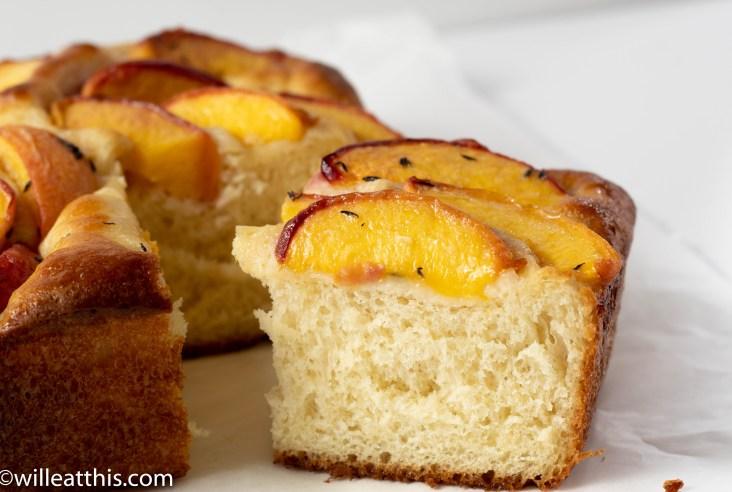 Cut Peach Focaccia showing the crumb