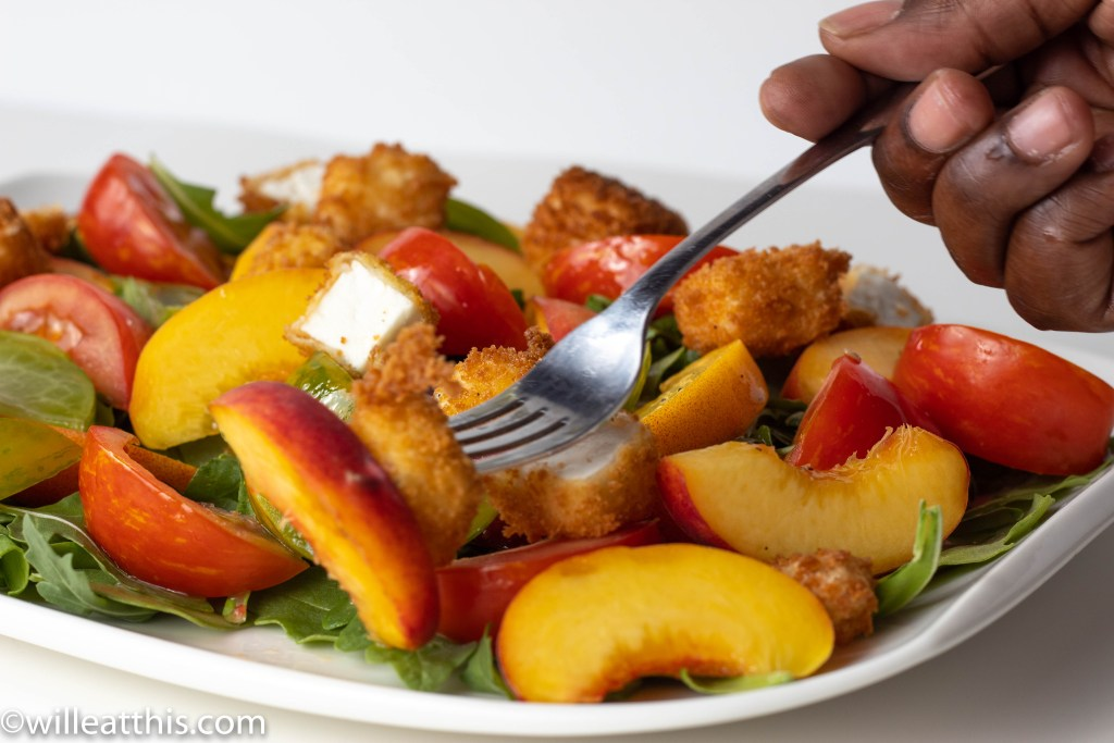 Peach Tomato Salad with Feta Crouton on a Fork
