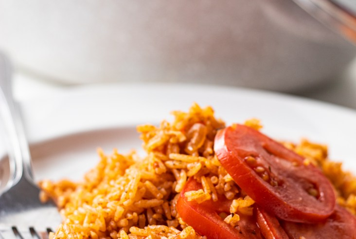 nigerian jollof rice on a white plate