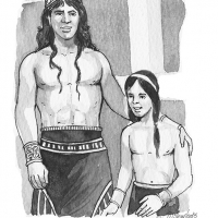 Illustration of a Spartan man and boy