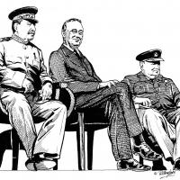 Illustration of Stalin, Roosevelt and Churchill
