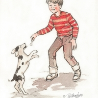 Watercolour - boy and dog