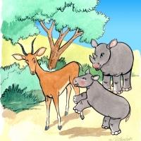 Watercolour - rhino calf and impala