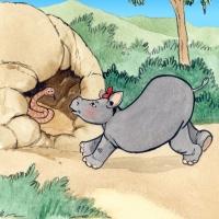 Watercolour - rhino calf and snake