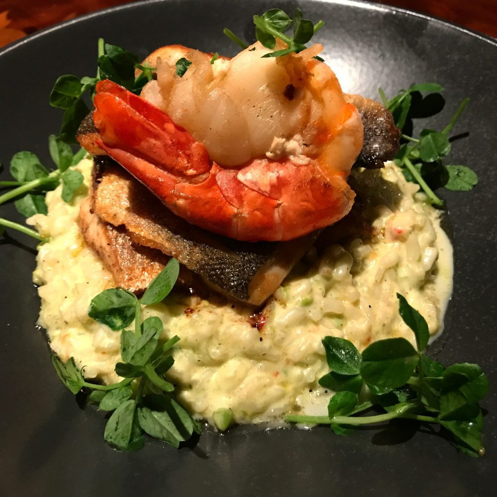 pan fried seabass with risotto