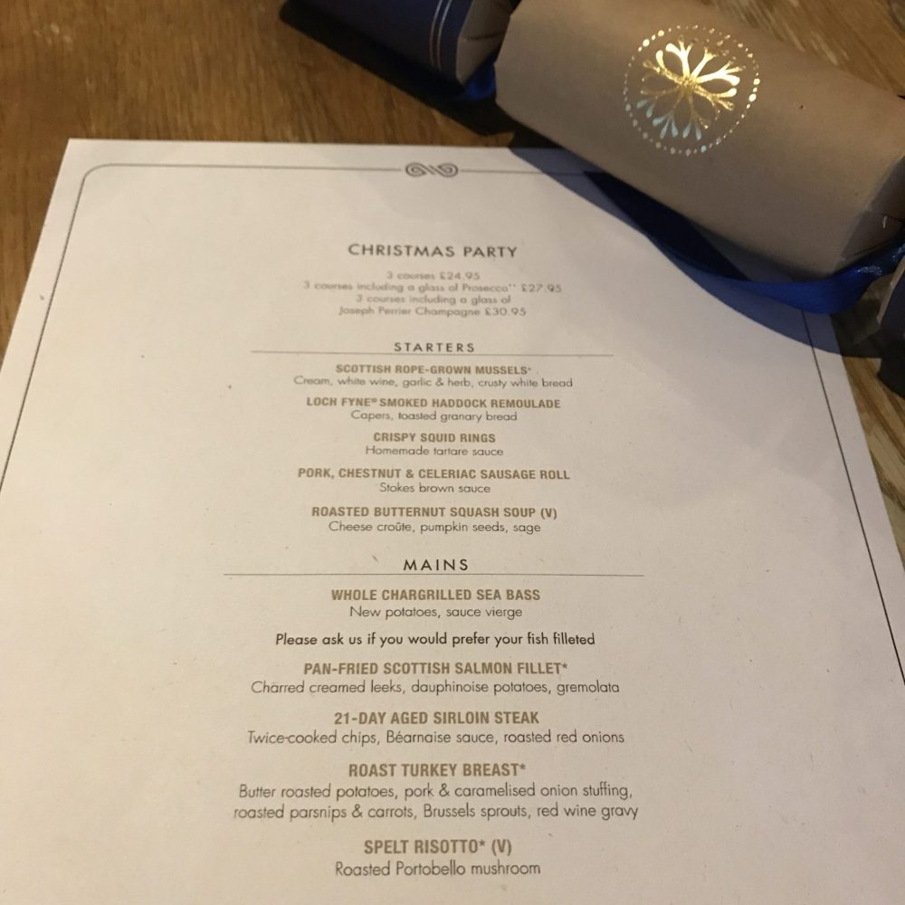 Loch Fyne Nottingham Christmas menu
