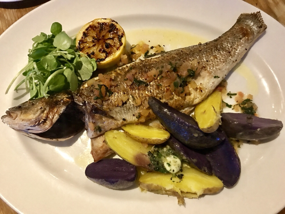 Chargrilled sea bass and new potatoes