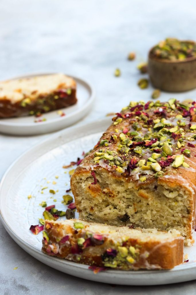 vegan rose pistachio and lemon cake