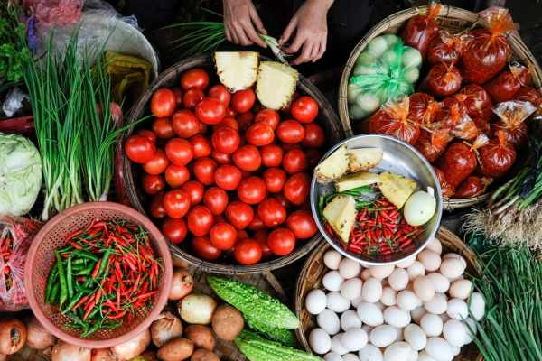 vegetables at the market shot from above