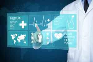 doctor touching glow heartbeat line