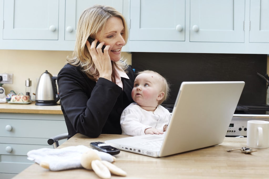woman working with a baby