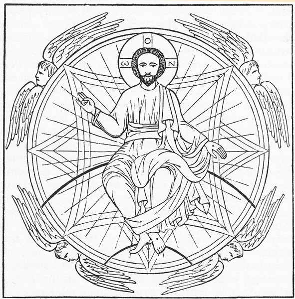 Christ rides upon his arcing rainbow throne in a bubble-shaped auereole (luminous cloud), radiating within, and intersected by symbolic squares with concave sides.This luminous cloud could be a ring of exotic matter...