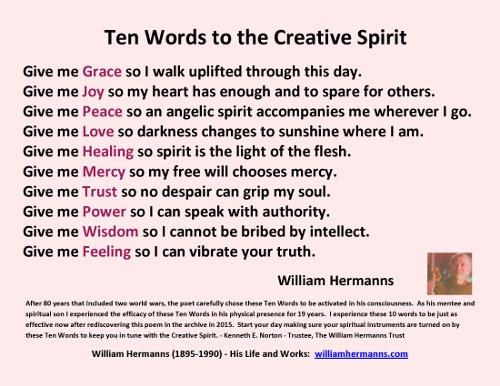 Ten Words to the Creative Spirit by William Hermanns