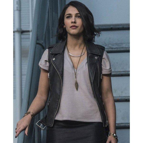 Naomi Scott Power Rangers Black Leather Vest