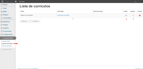 Lista de currículos ‹ wiliamluis — WordPress
