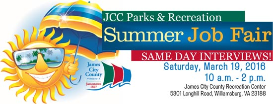 James City County Parks Rec Job Fair March 19 Williamsburg Families