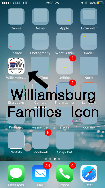 Add WilliamsburgFamilies Icon to your phone home screen