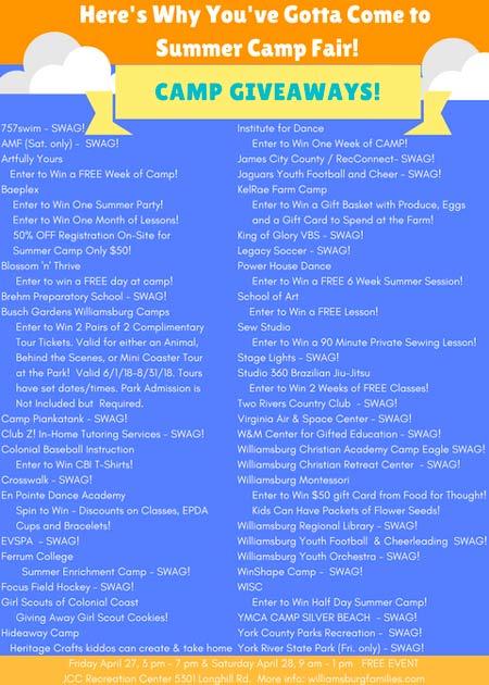 giveaway summer camp fair