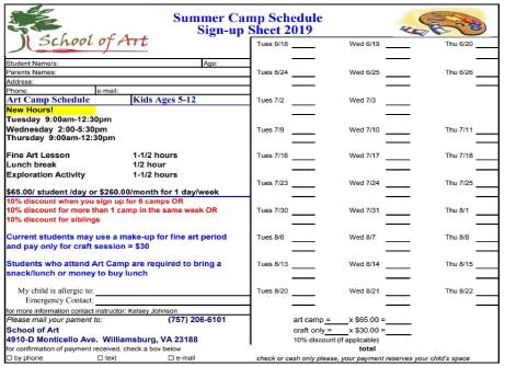 school of art summer camps