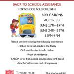 Back to School Assistance Program for Kids Provides Backpack, School Supplies and more for Families in Need.  More about application here:
