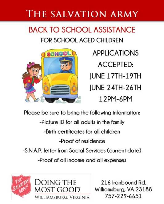 Backpacks Christmas Town Williamsburg 2020 Back to School Assistance from Salvation Army