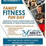 Family Fitness Fun Day! Sat. Nov 9th is a chance to team up with your family for some fun!