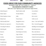 Food Drive for Local Community Agencies on April 18