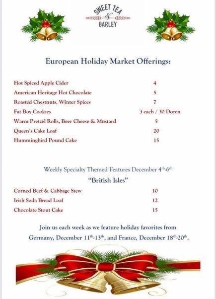 menu for market