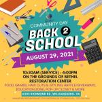 Back 2 School Community Day at Restoration Center - Sun, Aug 29 from 10:30 am - 4 pm