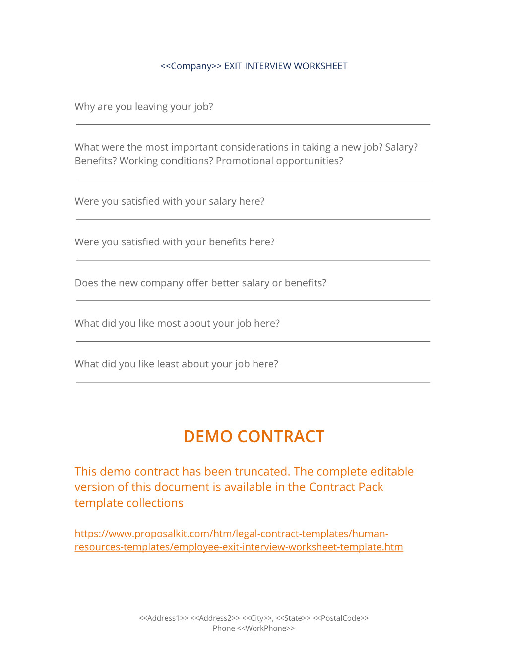 Contract Exit Plan Template