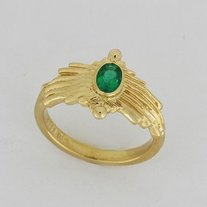 Emerald sunburst ring