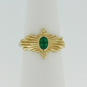 Emerald sunburst ring