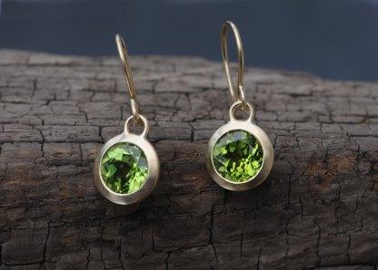 Peridot green dangle earrings