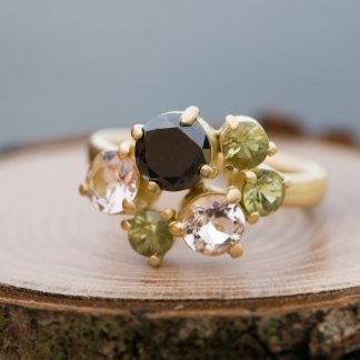 Black diamond cluster ring in gold