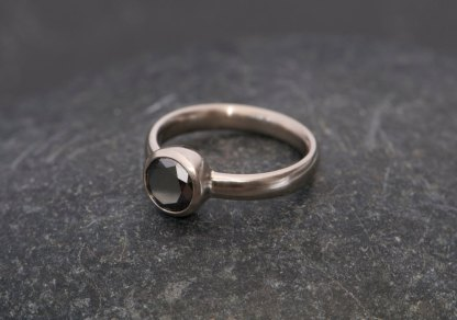black diamond solitaire ring in white gold
