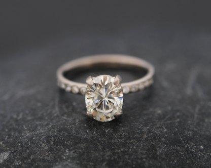 Forever Brilliant Moissanite ethical alternative to diamonds set in white gold ring