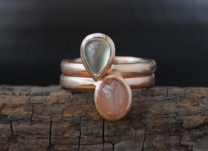 pryanite and peach moonstone pear cut stacking rings