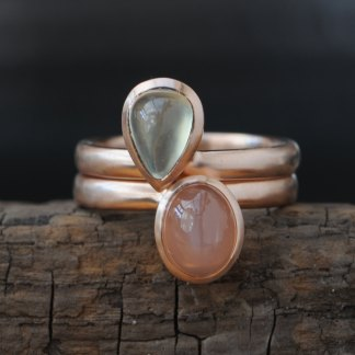 pryanite and peach moonstone pear cut stacking rings