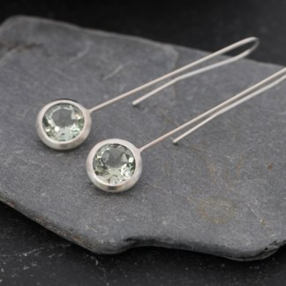Clean and simple green amethyst 'lollipop' earrings, set in sterling silver. Drop length can be adjusted. Designed and handmade by William White in Cornwall