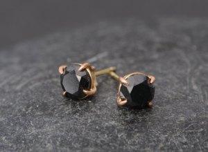 black diamond stud earrings in 18k rose gold. By William White