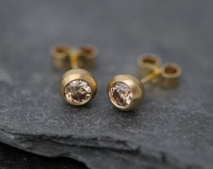 Champagne diamond and 18k yellow gold studs. By William White