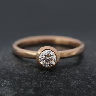 Diamond solitaire in rose gold setting