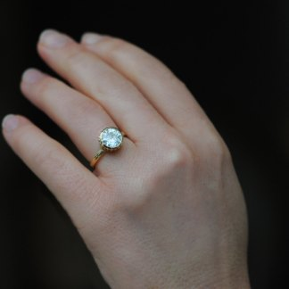 sparkly cupcake ring in moissanite and gold