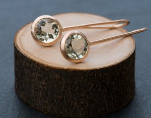 Pale green amethyst lollipop earrings in rose gold. By William White