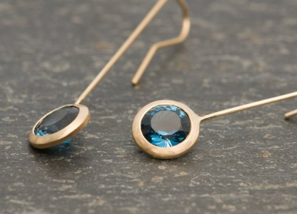 London Blue Topaz lollipop earrings in gold. By William White