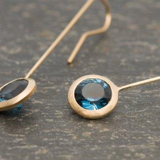 London Blue Topaz lollipop earrings in gold. By William White